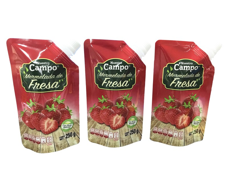 plastic pouch with spout for strawberry sauce packaging