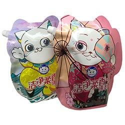 lucky cat shape packaging pouch for detergent packaging